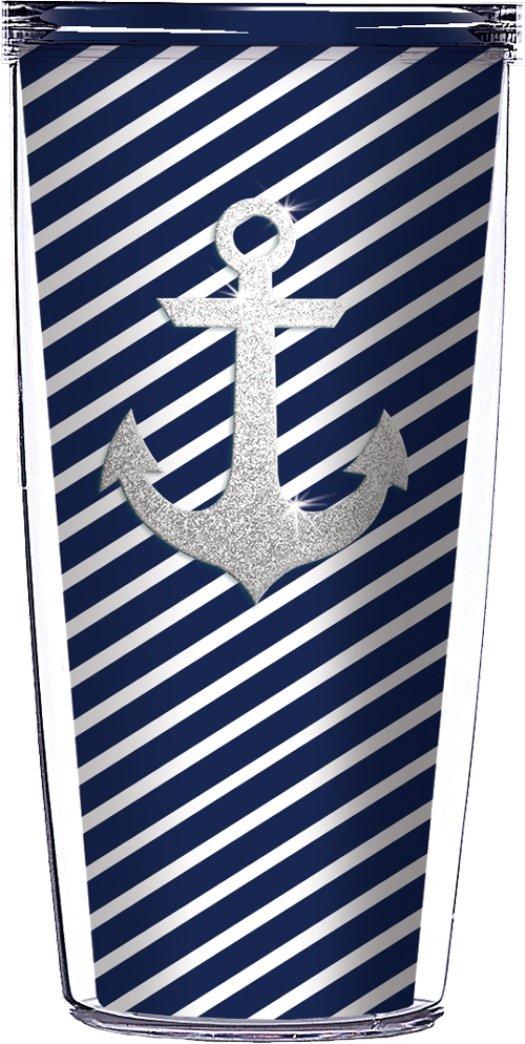 Silver Anchor Bling Navy Diagonal Stripes Traveler 16 Oz Tumbler Cup