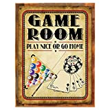 Wood-Framed Game Room Play Nice or Go Home Metal Sign, Poker, Billiards, Gaming, Mancave, Den, Wall Décor on reclaimed, rustic wood For Sale