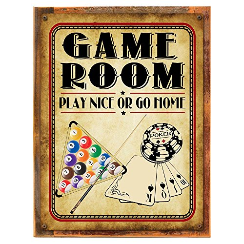 Wood-Framed Game Room Play Nice or Go Home Metal Sign, Poker, Billiards, Gaming, Mancave, Den, Wall Décor on reclaimed, rustic wood