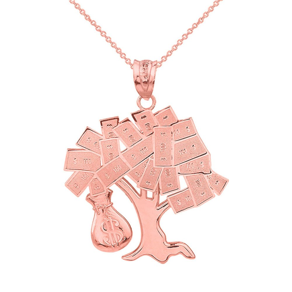 Solid 14k Rose Gold USD Dollar Money Bag Treasure Tree Pendant Necklace, 20''
