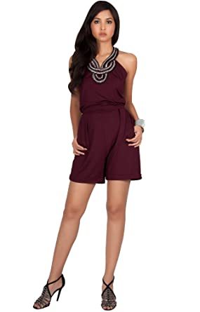 7cd3cb7549f Amazon.com  KOH KOH Womens Sleeveless Sexy Cute Cocktail Party Summer Short  Romper Jumpsuit  Clothing