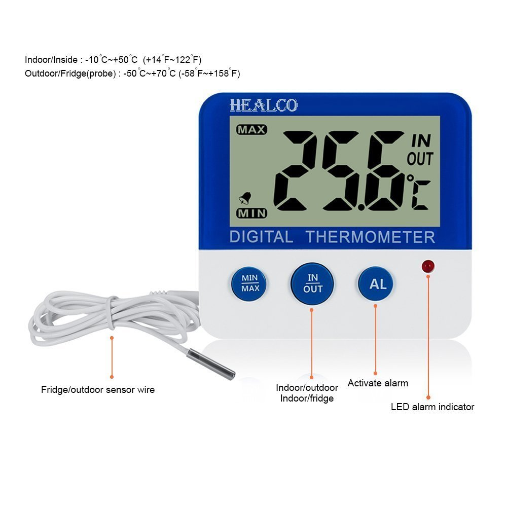 Healco Digital Freezer Fridge Thermometer With Magnet 4 Wire Diagram And Stander Refrigerator Led Alarm Indicator Max Min Memory