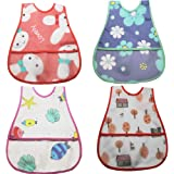 Baby Waterproof Bib with Crumb Catcher Pocket, Comfortable Soft Adjustable Snaps Feeding Bibs For Infants and Toddlers (Water