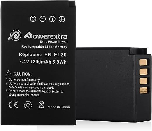 Powerextra 2X EN-EL20a Battery & Car Charger Compatible with Nikon Coolpix P1000, DL24-500, Nikon1 J1, J2, J3, Nikon1 S1, Nikon1 V3, Nikon Coolpix A, ...