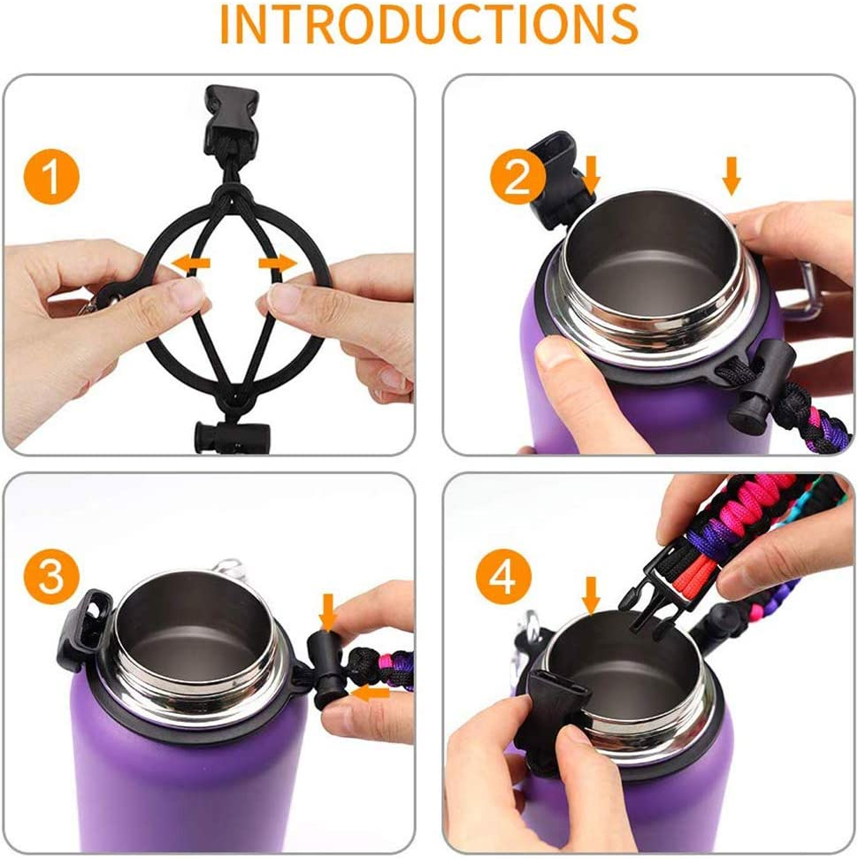 Ourine 7 Core Bottle Handle Strap/ï/¼/ŒHandle Strap Braided Cup Holder for Outdoor Survival Hiking Travel Fits Wide Mouth Water Bottle