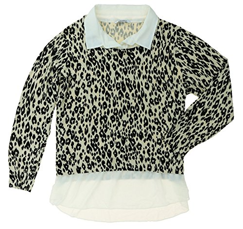 Faux Layered Sweater (DKNYC WOMENS LAYERED LOOK-BUILT IN FAUX SHIRT PULLOVER SWEATER (Large, Leopard))