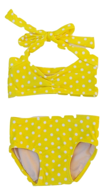 8//10 Red Dolly Swimwear Yellow /& White Polka dot Retro Girls Bikini Swimsuit