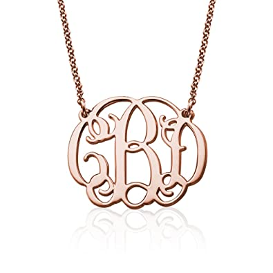 Amazon 18k yellow or rose gold plated silver fancy monogram 18k yellow or rose gold plated silver fancy monogram necklace custom made pendant with any aloadofball Image collections