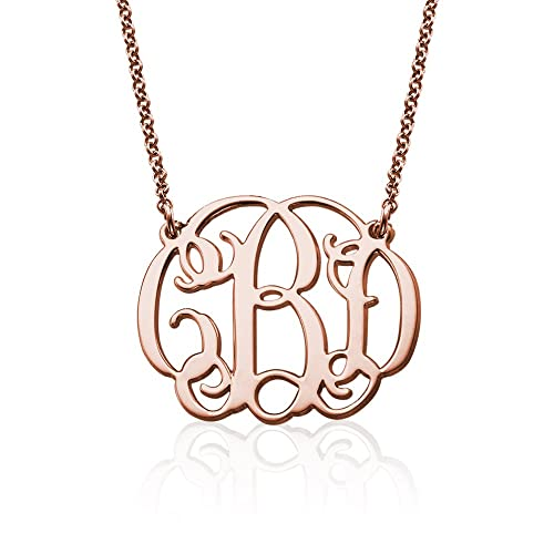 Fancy Monogram Necklace -Customized Pendant with Your Initials -Jewerly for  Her