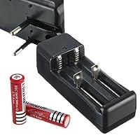 JECO Chargeur double 18650 18500 + 2 batteries Li-ion 3.7v 4200mAh universel piles led torche cigarette électronique