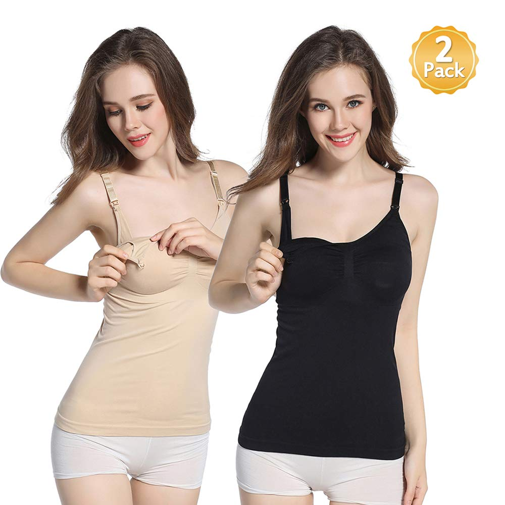 3223f66e38900 Amazon.com: WETONG Nursing Tank Camis with Maternity Bra for Breastfeeding  Cotton Tops 2PACK L: Baby