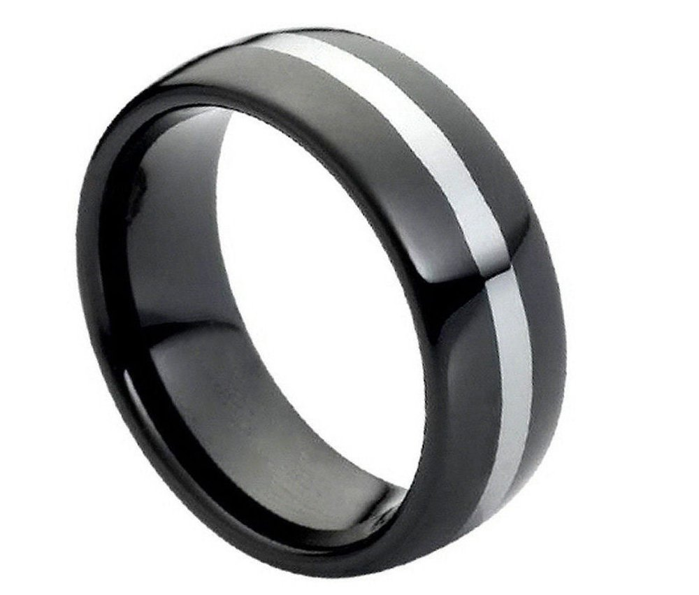 8mm Tungsten Carbide Black Enamel Dome with polished Center Line Wedding Band Ring For Men Or Ladies