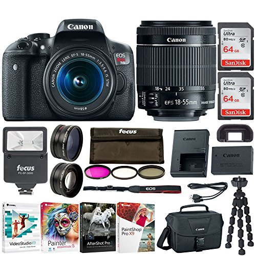 Canon EOS Rebel T6i Digital SLR Camera 18-55mm IS STM Lens with 128GB (2 x 64GB), Digital SLave Flash, Wide Angle and Telephoto Lenses, 3pc Filter kit, and Deluxe Bundle ($130 Value)