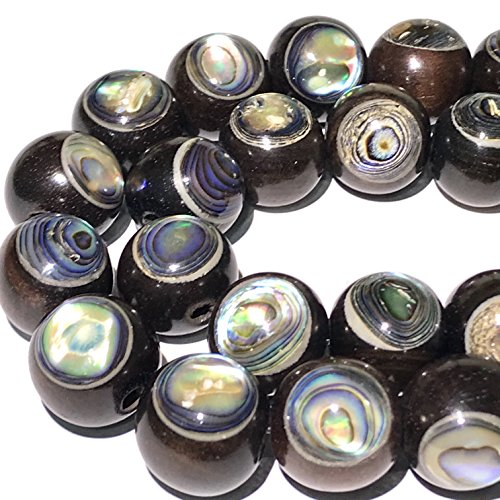 ([ABCgems] Rare Kamagong Hardwood AKA Ebony (New Zealand Abalone Front & Back Inlaid) 8mm Smooth Round (Approx 28-30 Focal Beads Wholesale)