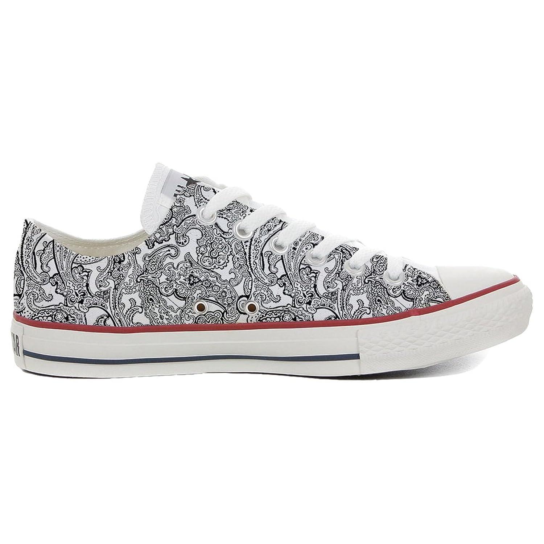 Converse All Star Slim personalisierte Schuhe (Handwerk Produkt) Black & White Paisley  40 EU