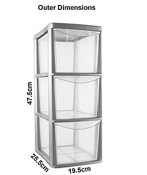 3 Drawer Medium Tower Storage Draw Plastic School Office Home Heavy