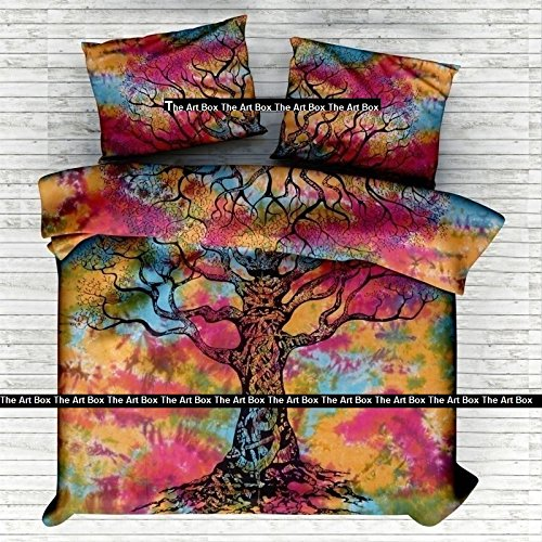 The Art Box Indian Tie Dye Tree of Life Cotton Duvet Quilt Cover Bohemian Hippie Bedspread Quilt Handmade Duvet Cover with Pillow (Queen - Tie Dye Life