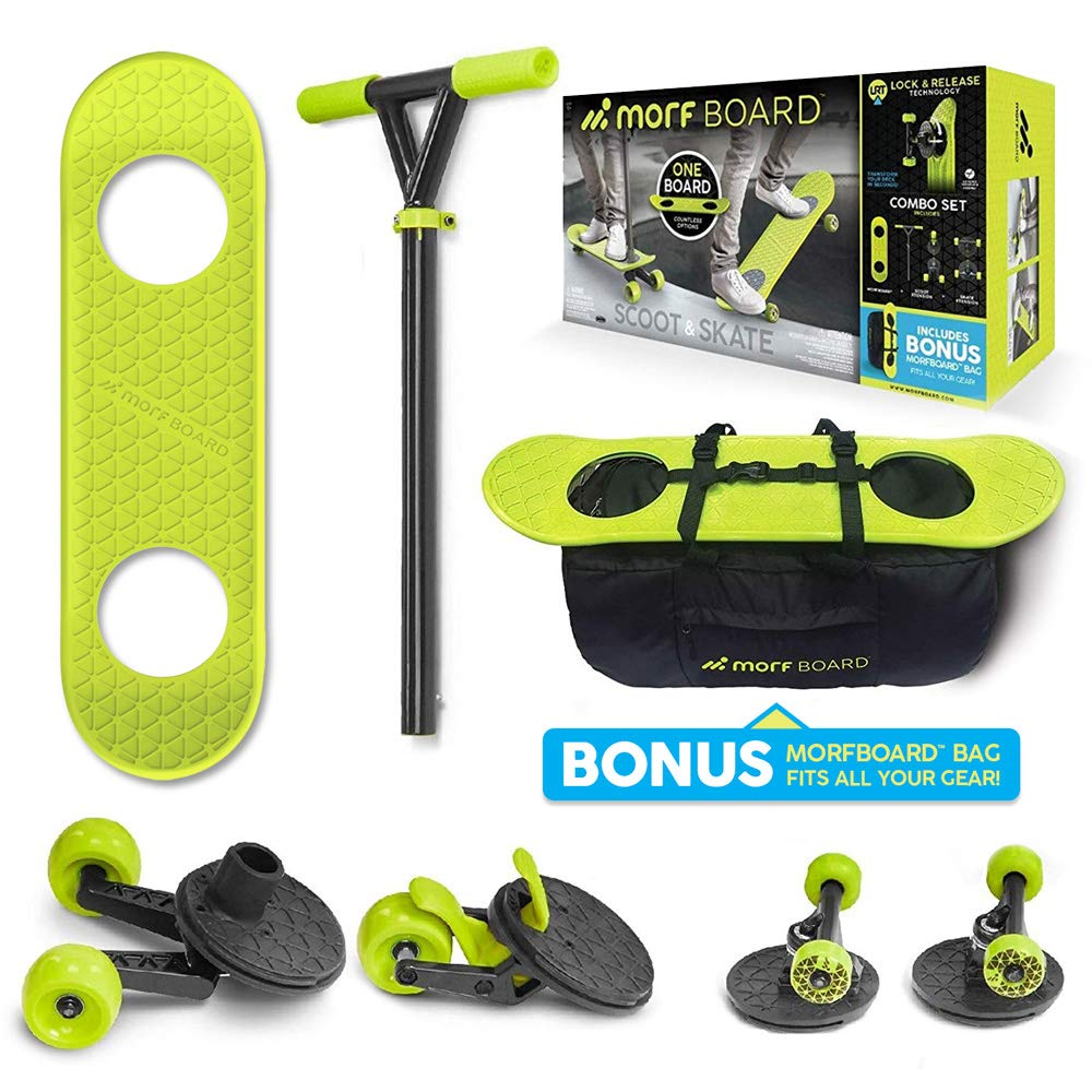 MORFBOARD Skate & Scoot Combo with Bonus Bag to Fit 2-in-1 Scooter & Skateboard Gear, 3-Position Adjustable Height and Extra Wide Skateboard Deck, for Boys or Girls 8 Years and Up, Supports 150 lbs by MORFBOARD