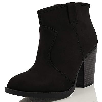 SODA Women's Albert Faux Suede Cowboy Pull-Tab Stacked Heels Ankle Booties, Black, 7 M US   Ankle & Bootie