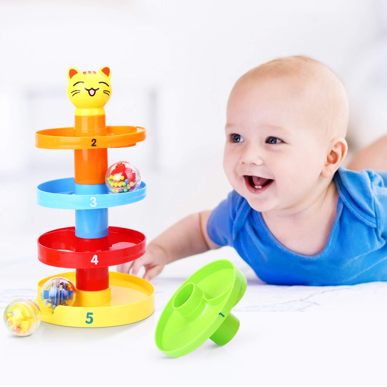 Peradix Gatto Rampa di Palla Torre Rotante Multistrato per Bimbi Giocattoli Educativi Adatto a bambini di età superiore a tre anni