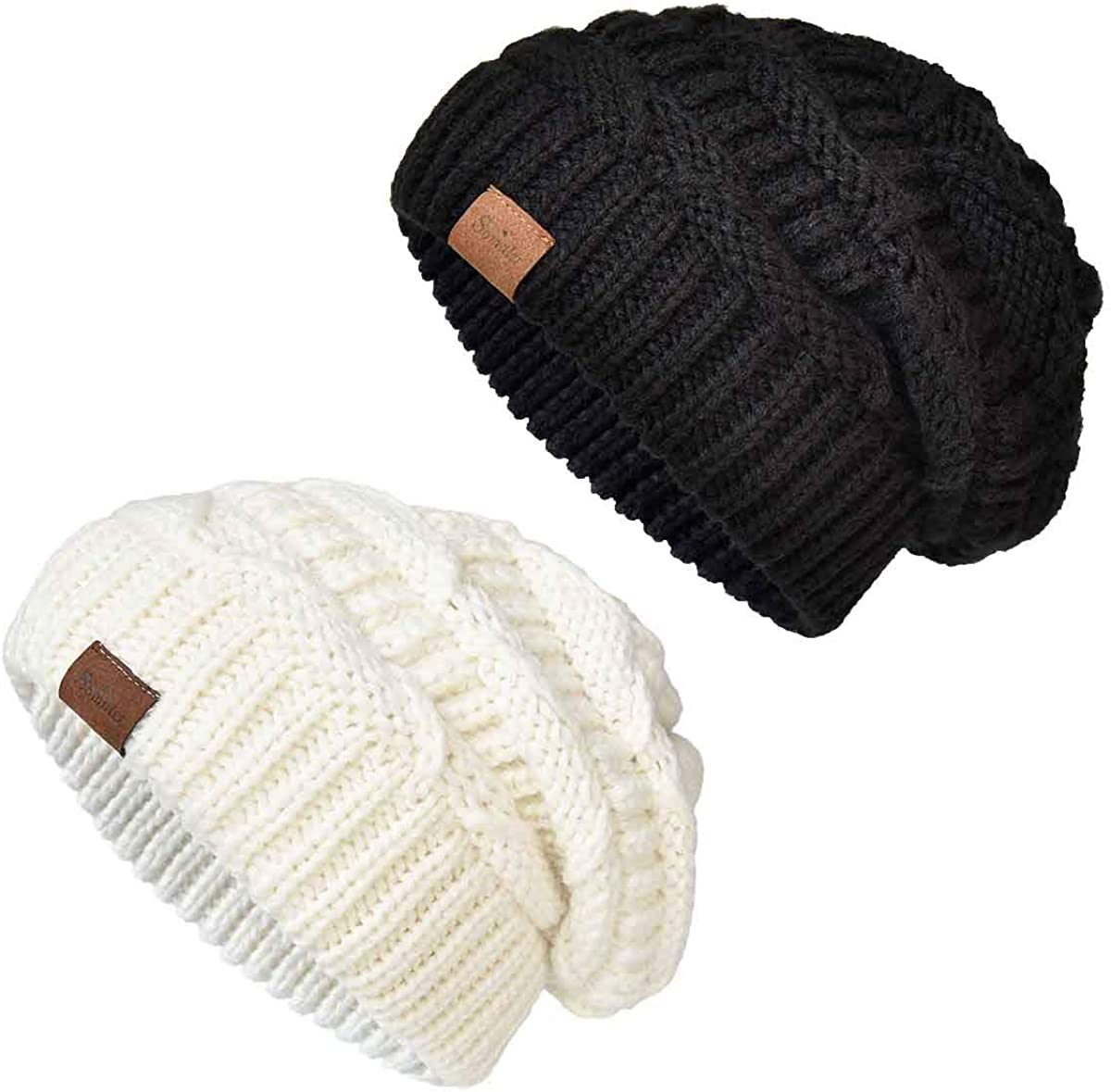 SOMALER Knit Beanie Hat for Women Oversize Chunky Winter Slouchy Beanie Hats Ski Cap