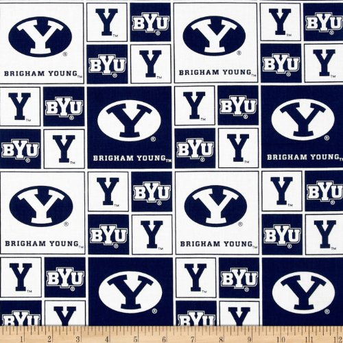 Sykel Enterprises Collegiate Cotton Broadcloth BYU Blocks Fabric by The Yard Multi - Brigham Fabric Young University