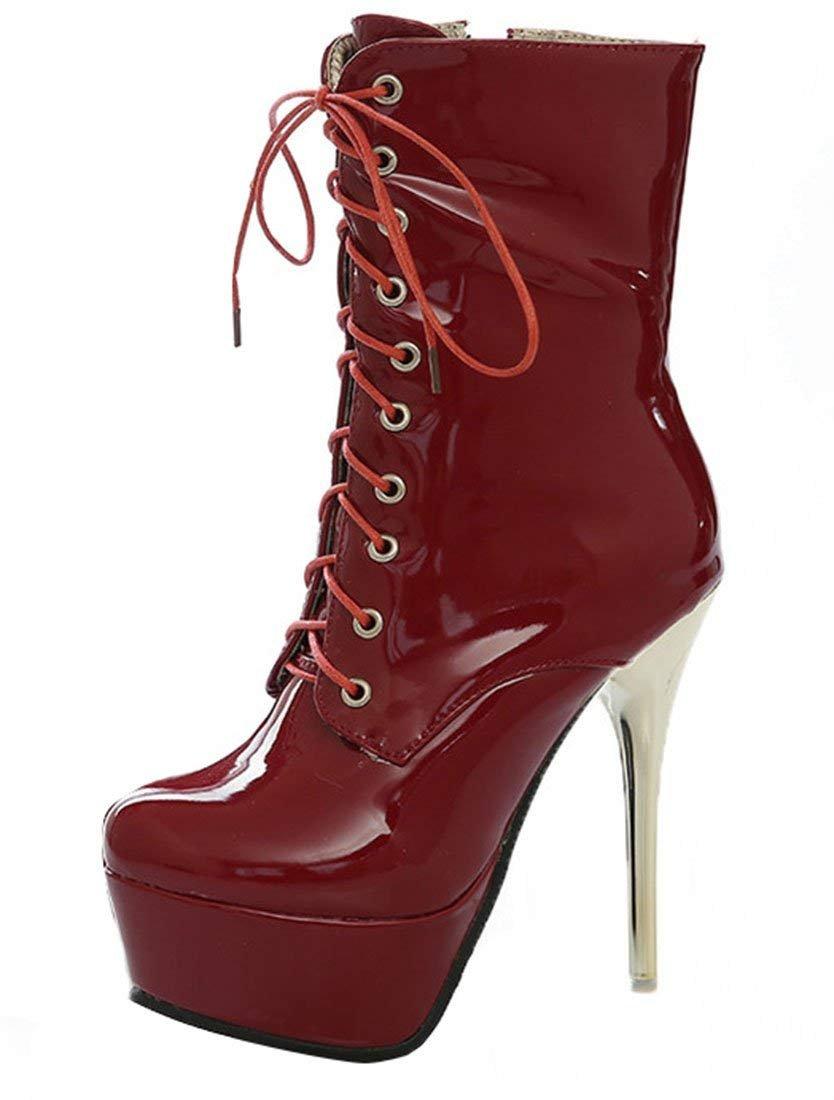 YE Chaussure Botte Boots Ankle Boots Femme Courte Femme Bottine Vernis Chaussure Plateforme Talon Haut Aiguille Lacet Hiver Rouge 6732eda - automatisms.space