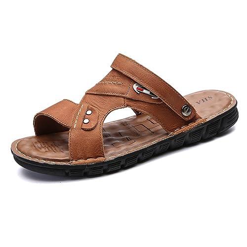 Yao Pantoufles de Plage en Cuir, Décontracté Respirant Anti-Dérapant Souple Plat à Bout Ouvert Sandales Confortables Chaussures Dos Nu Réglable pour Les Hommes (Couleur : Dark BRN, Size : 41 EU)