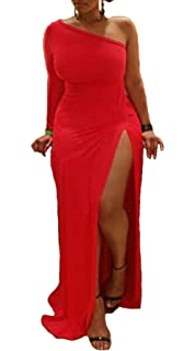 cd8eda2d2227ba Leezeshaw Womens Sexy Plus Size One Shoulder Long Sleeve High Slits Maxi  Dress