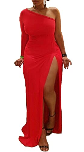 Leezeshaw Womens Sexy Plus Size One Shoulder Long Sleeve High Slits Maxi Dress