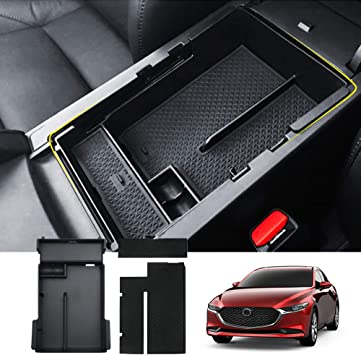 Armrest Secondary Storage Box JOJOMARK for 2020 2019 Mazda 3 Accessories Center Console Organizer Tray