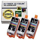 HI-VISION® 3 Pack Compatible Canon CLI-36 (1511B002) Tri Color Ink Tank Replacement for PIXMA iP100, iP110, mini260, mini320