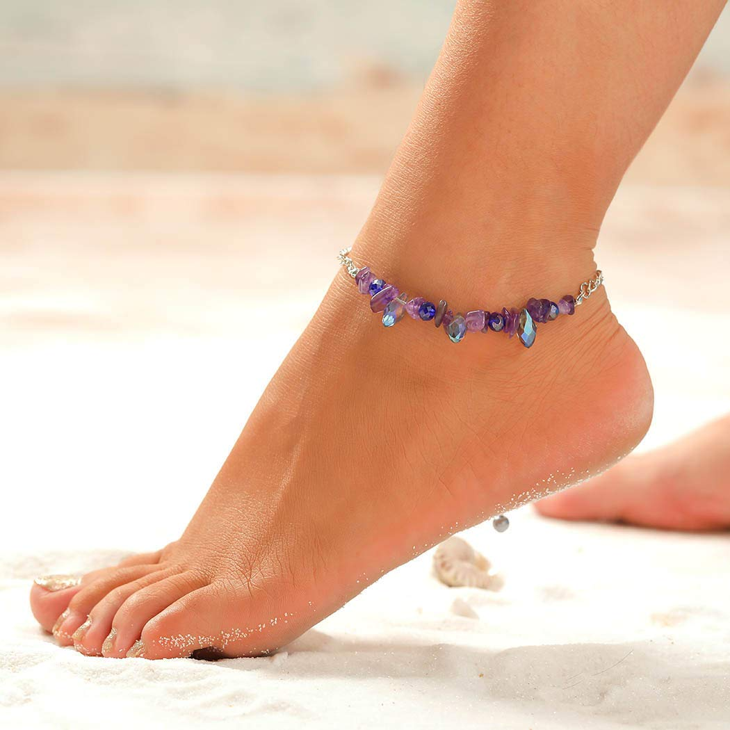 Barogirl Boho Anklet Bracelet with Shell Beach Beaded Ankle Chain for Women and Girls, 1 PC (Purple)