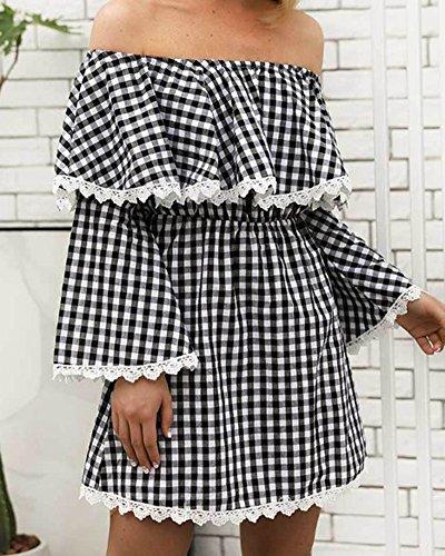 pour Haute Dos Nu de Gris Robe Femme Taille Princesse cossais Carreaux CSWqU