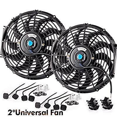"2Pcs 12"" Electric Radiator Cooling Black Fan Assembly Kit 1730 CFM Universal Slim Pull Push Engine Fan Mounting Kit 12V 80W Diameter (in): 12.050"": Automotive"