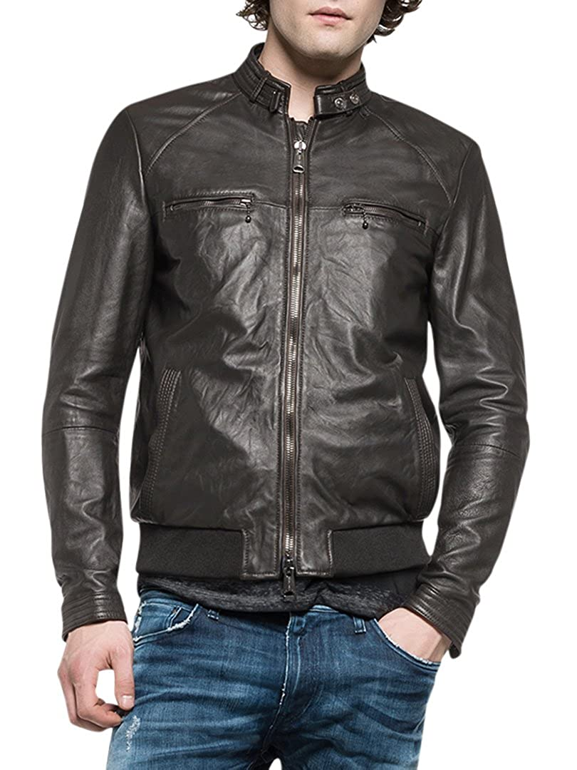 373a3ac8bfdc Replay Men s Leather Biker Jacket