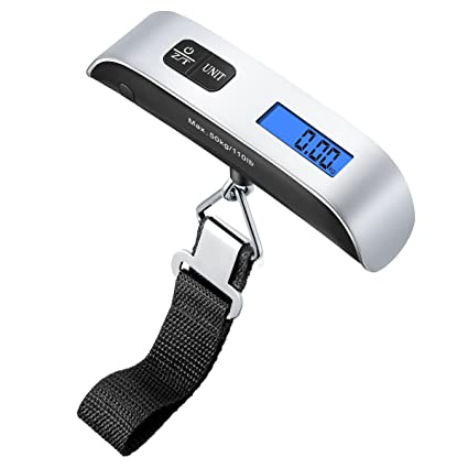 36abea456564 AMIR Digital Hanging Luggage Scale, 110lb/50kg Portable Travel Electronic  Suitcase Scale, Backlight LCD Display, Rubber Paint Handle, Tare Function,  ...
