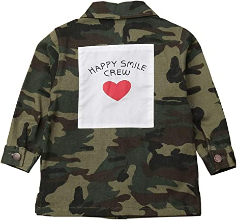 Anxinke Little Boys and Girls Back Letters Button Down Outerwear Camouflage Denim Jacket Coats
