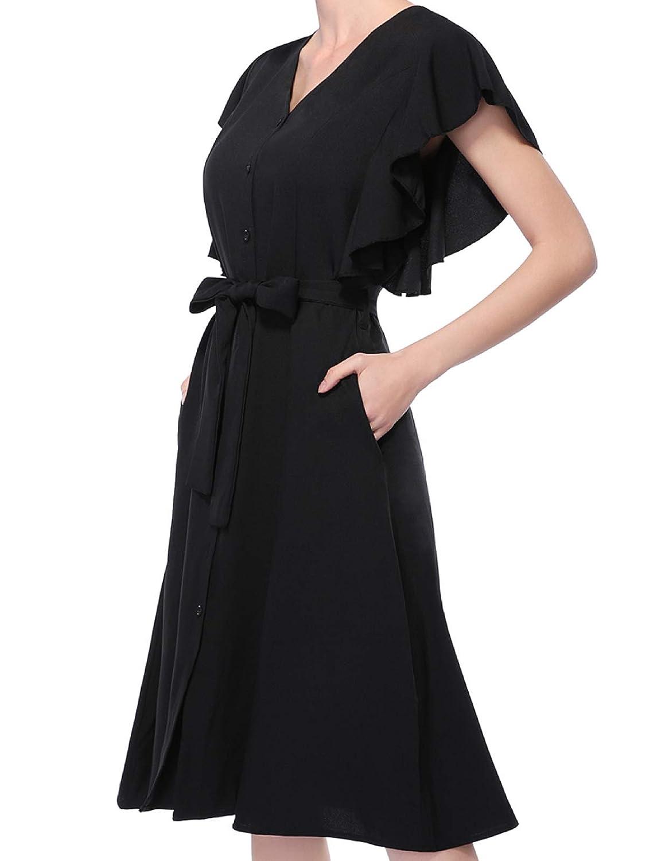 CHICIRIS Womens Elegant Ruffle Sleeveless Sundress V Neck Button Down Midi Skater Dress with Pockets