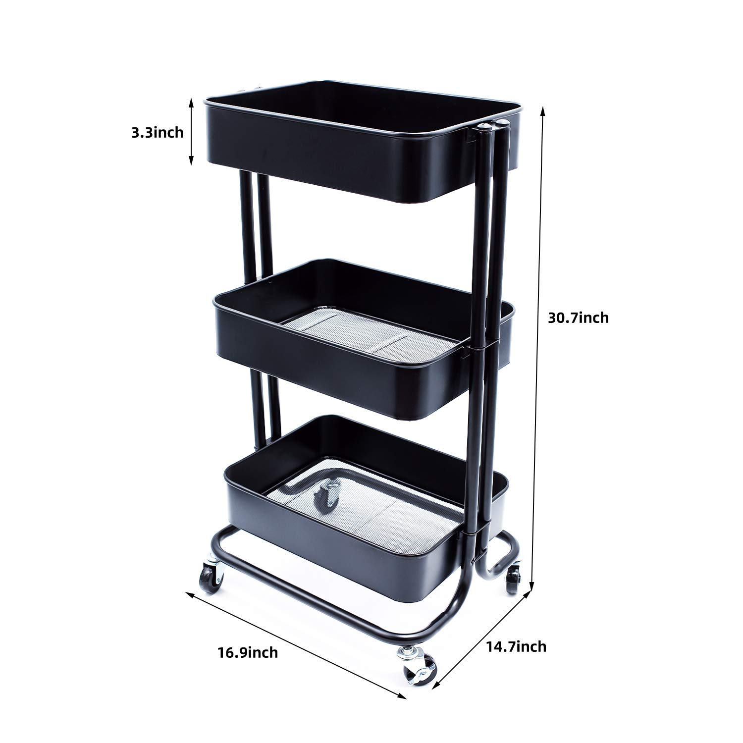 JANE EYRE 3 Tier Metal Rolling Storage Utility Cart on Wheels, Organization Cart Storage Shelves for Bedroom, Kitchen, Bathroom, Office, Nursery Room, Pantry – Black