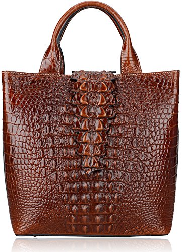 Pijushi Embossed Crocodile Leather Tote Top Handle Handbags 6061 (One Size, Brown) by PIJUSHI