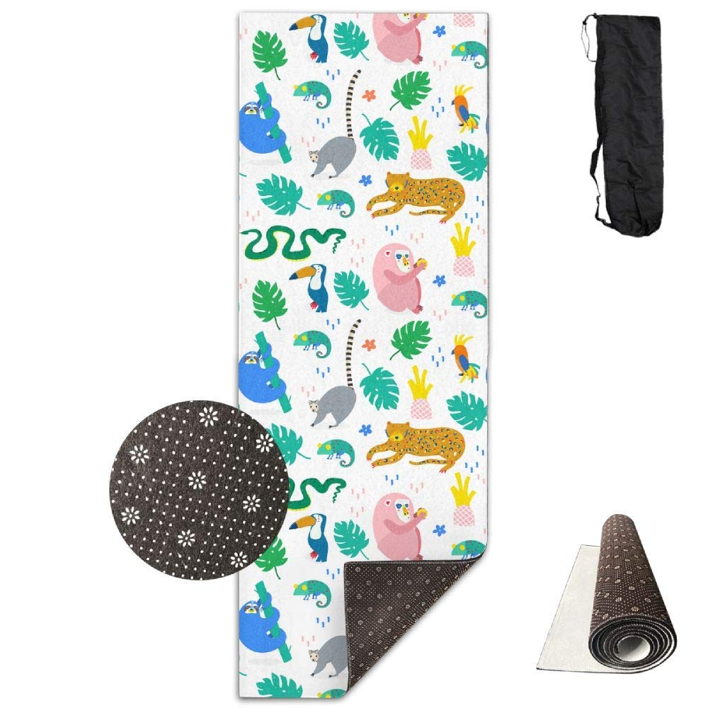 Jungle Animals Unique Trendy Style. Yoga Mat Towel for Bikram Hot Yoga, Yoga and Pilates, Paddle Board Yoga, Sports, Exercise, Fitness Towel
