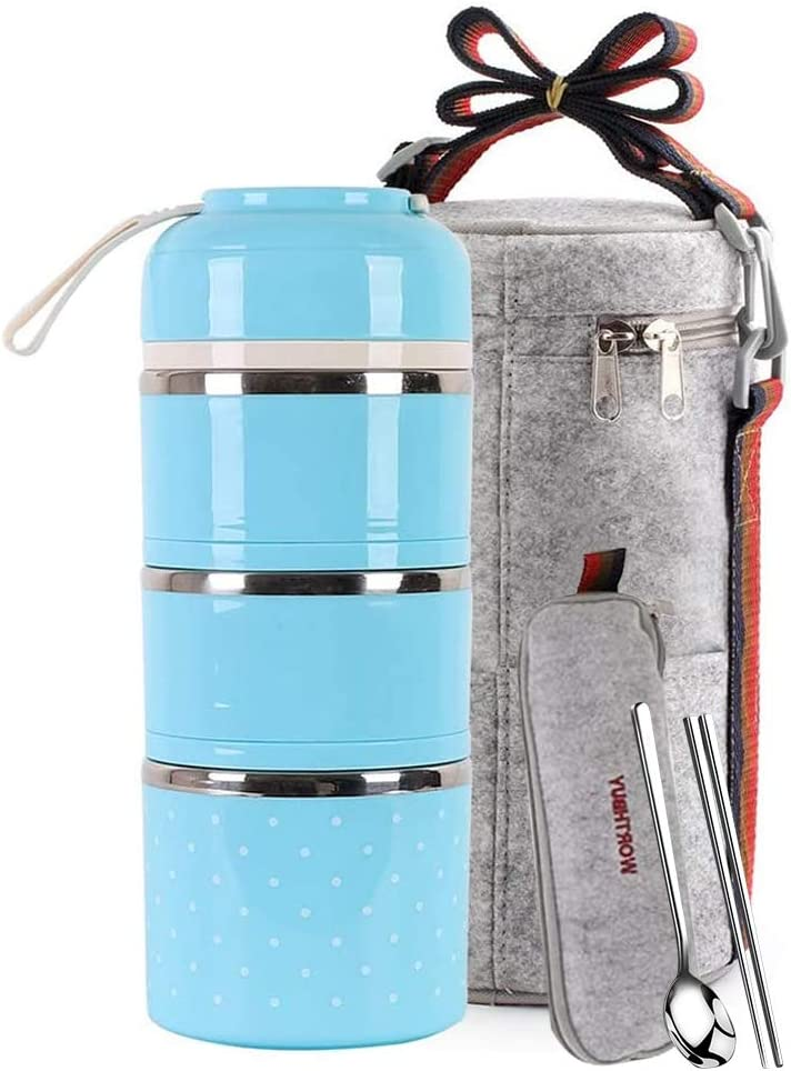 Lunch Box Stainless Steel Food Containers 3 Stackable Square Bento Box with Insulated Lunch Bag Spoon and Fork Set for School Office Or Picnic (Blue)