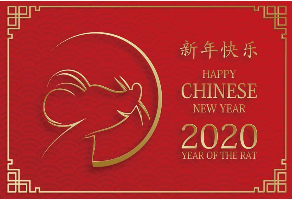 Yeele Chinese New Year Photography Backdrop 5x3ft Year of The Rat Celebration Photos Background 2020 Spring Festival Events Photo Booth Banner Photoshoot Props Holiday Picture Wallpaper