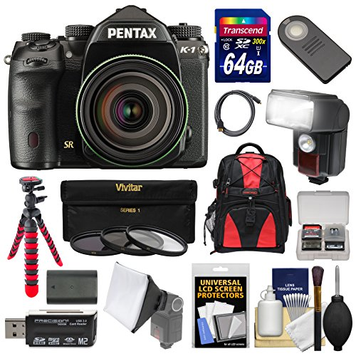 Pentax K-1 Mark II Full Frame Wi-Fi Digital SLR Camera & FA 28-105mm Lens with 64GB Card + Battery + Flash + Backpack + Tripod + Kit Pentax Camera Sd Memory Card