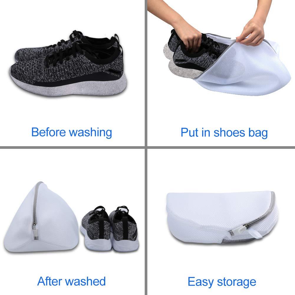 AJOXEL 3 Stück Wäschenetz für SchuheSneaker, Schuh Wäschebeutel mit Reißverschluss für Waschmaschine Schuhnetz Schuhbeutel, Wäschesack Schutz