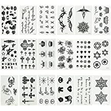 [18 Sheets] Small Black Removable Waterproof Temporary Tattoos Body Art Sticker Sheet Paper for Kids Men Women Adults Girls (Spider Scorpio Cross Crown Letters Gun Stars Quotes Queen Sword Paw Print)