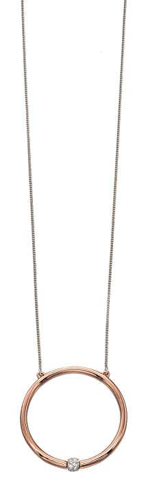 Fiorelli Costume Core Rose and Silver Oval Cut Out Necklace of Length 61.5cm 07ceoDWd18