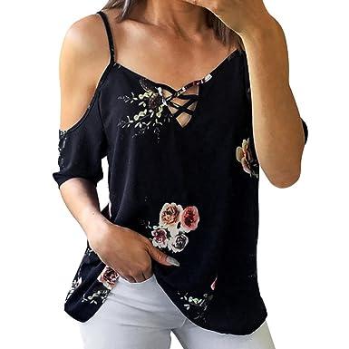 66317c7fd64f Damen T Shirt Top Sommer Tank Tops Frauen Kurzarm Schulterfrei Shirt Sexy  Blumen Druck T-
