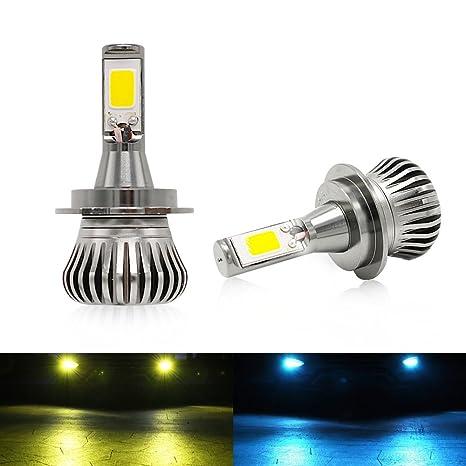 H7 Luces Antiniebla Bombillas 3000K/8000K 2400LM 20W LED Lamparas Amarillo Ámbar,COB Chips